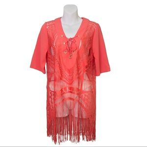 NWOT Orange Tie-Up Lace Top/Cover-Up W/ Fringe S